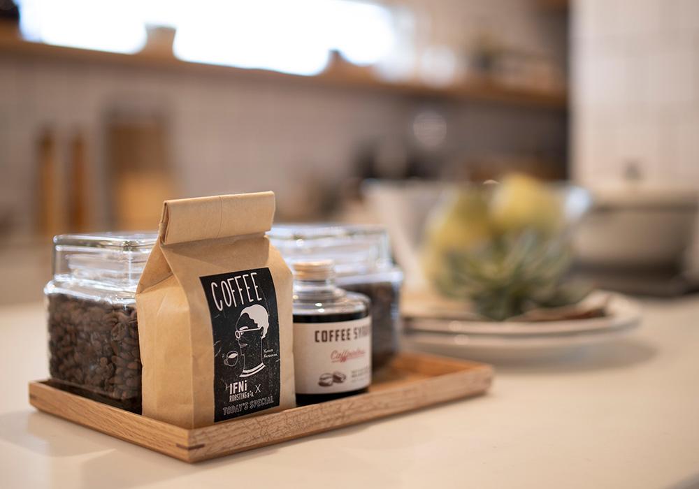 カフェ風キッチンでコーヒーを飲んでホッと一息つくのが至福のひと時。充実した家時間が暮らしを豊かにします。
