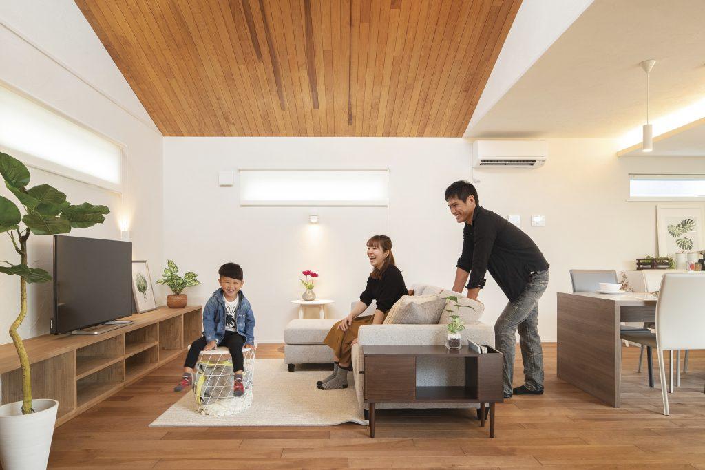 寝室を1階に設け、将来を見据えたコの字型の家